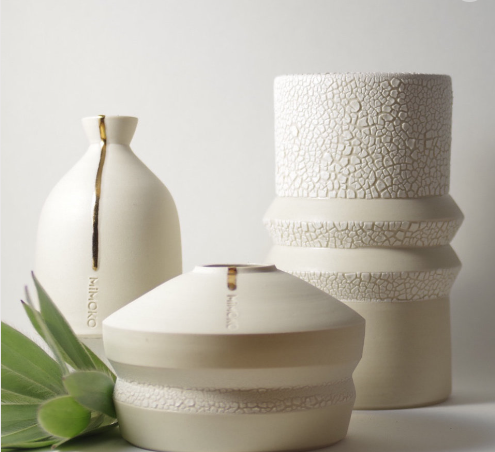 Modern textural vessels by MiMIKO are influenced by Scandinavian and Japanese design.