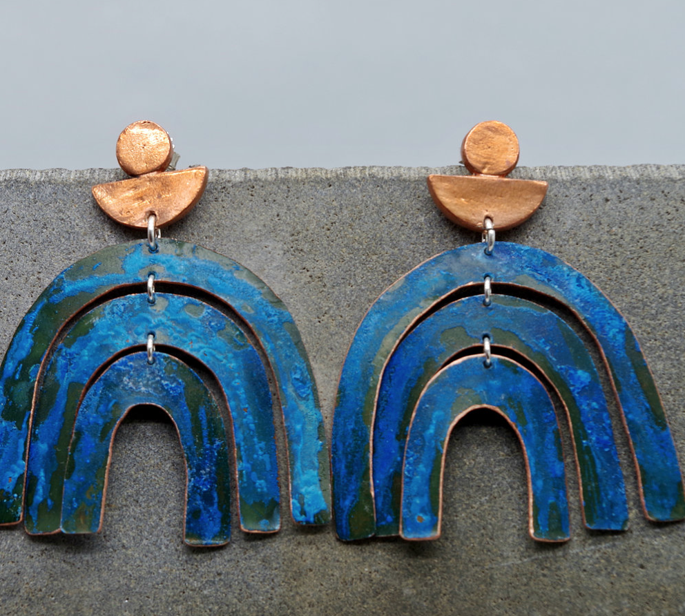 These arch earrings remind me of one of my collages. My favourite color blue with some beautiful patina by Sarah Sears.