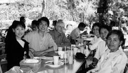 Members of the Sangha of Mindfulness at the Suan Pai Vegetarian Restaurant in Bangkok, Thailand. Clockwise, from the left: Warunee Dejsakulrit, Pongsathorn Tantiritthisak, David Percival, Sandra Brantley, Kittiya Pholkerd, and Piangporn Lapeloima.
