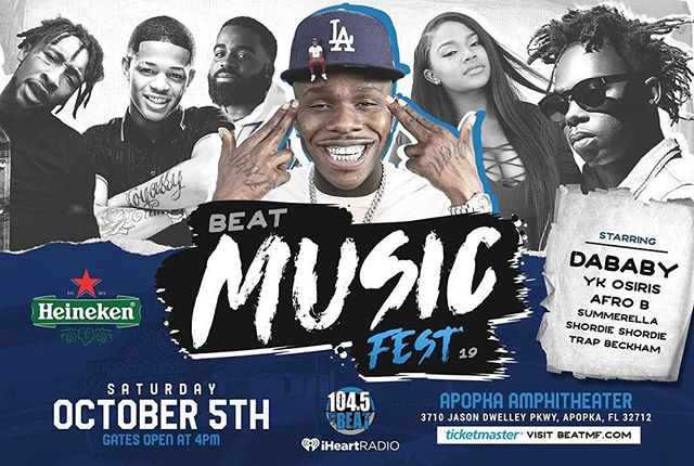 Get your tickets now 👉🏾General Admissions & VIP tickets available! @heineken presents BEAT Music Fest @DaBaby, @YKOsiris, @AfroB__, @ShordieShordie and more! Saturday, October 5, 2019 at the Apopka Amphitheater. #linkinbio #Beatmf - #regrann