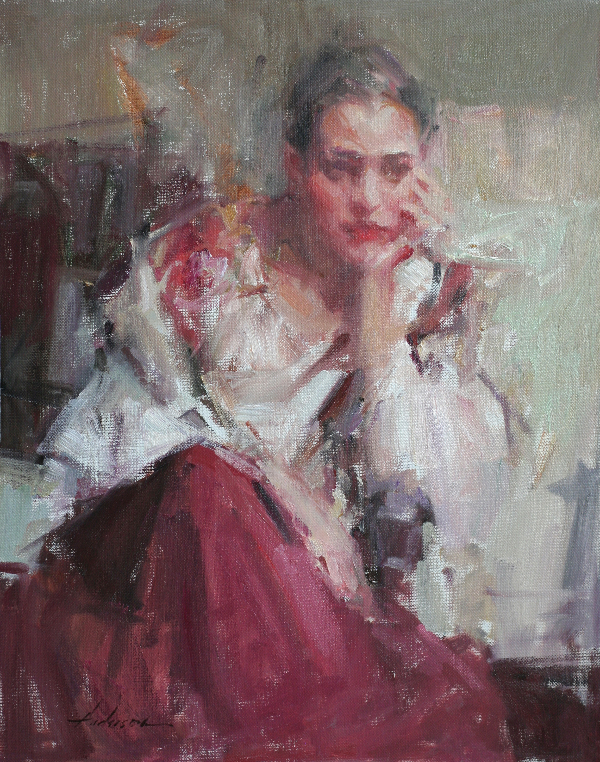 The Red Skirt, 20x16, oil