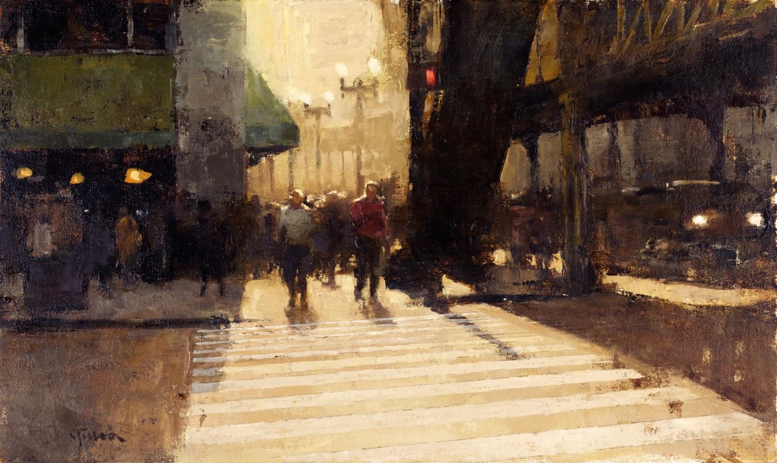 Crosswalk Shadows, 12x19, oil on linen