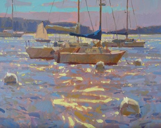 Harbor Glare, 16x30, oil on canvas
