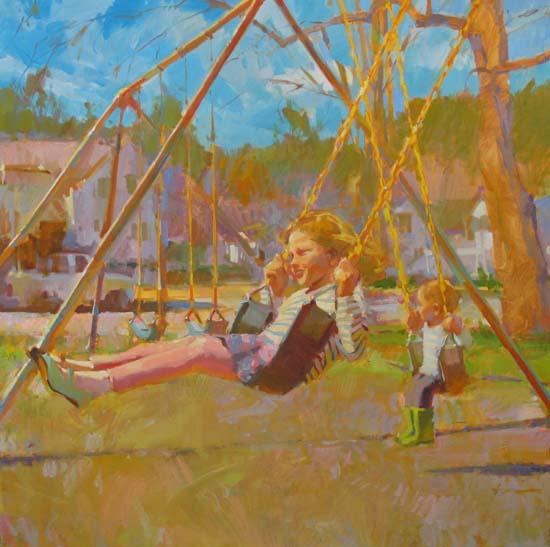 "Swingset 36x36"" oil on canvas"