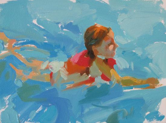 Paper Sketch, Swim, 8x10, oil on canvas