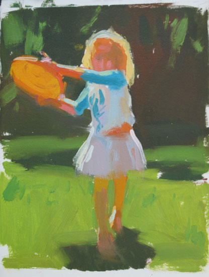 """Paper sketch Frisbee 10x8"""" oil on canvas"""