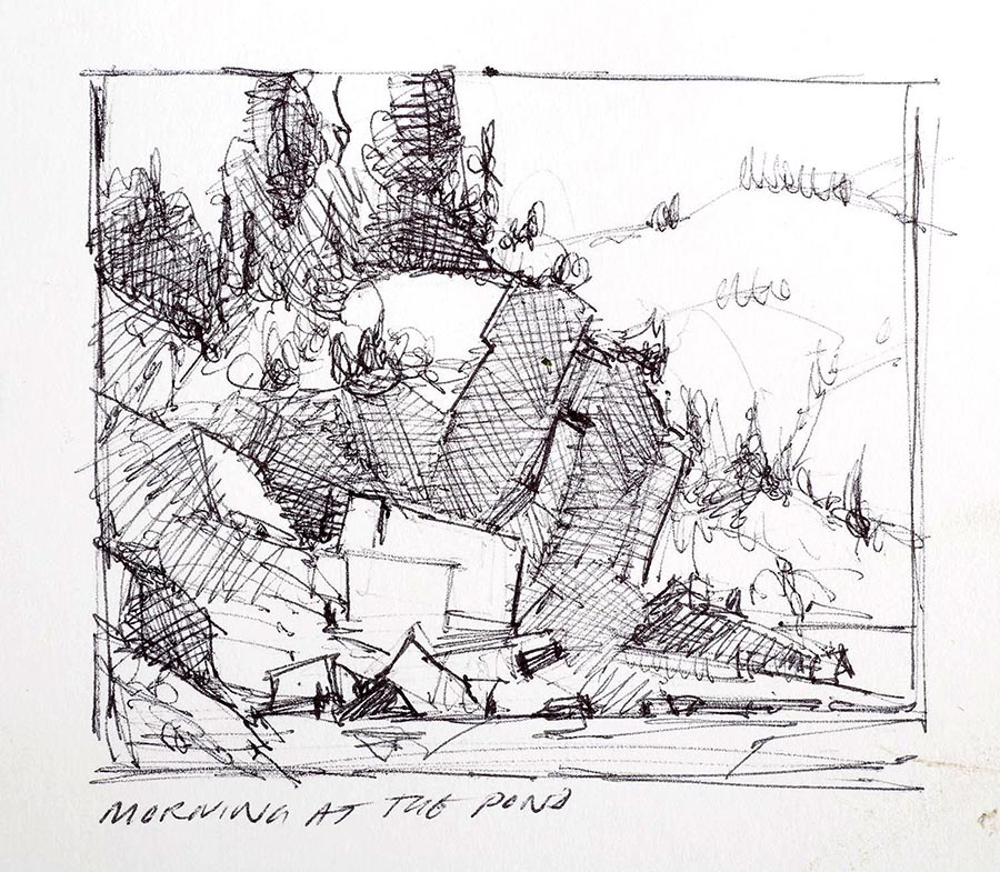 "Paul Kratter's thumbnail sketch for his painting ""Morning at the Pond"""