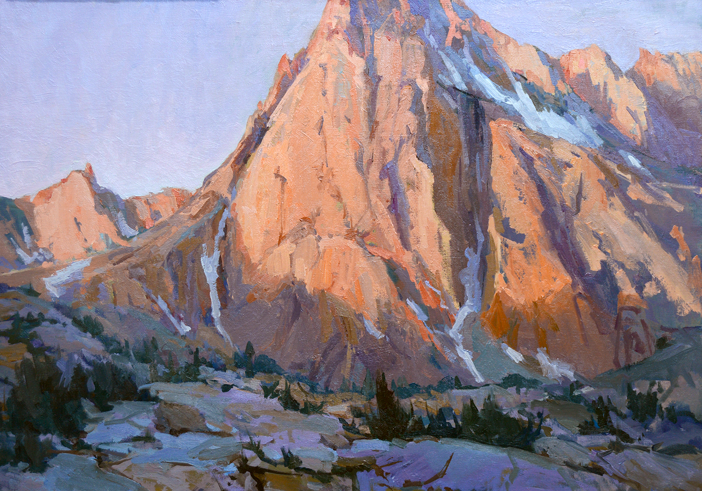 """Peak at Sunrise,"" by Lori Putnam, oil, 30 x 40 in. Studio painting"
