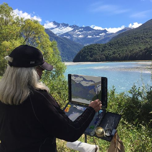 Matukituki Valley - I painted and taught here while Mark hiked up to the Glacier above.