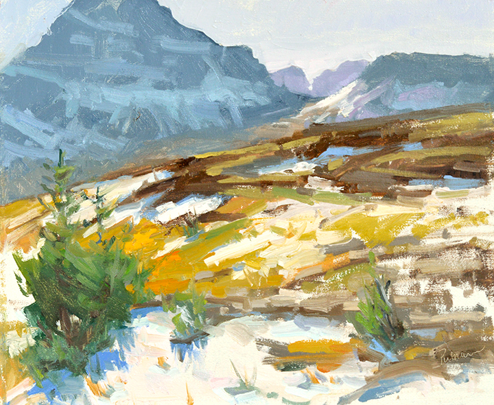Early Snow at Logan Pass, 10x12, $2400. private collection.