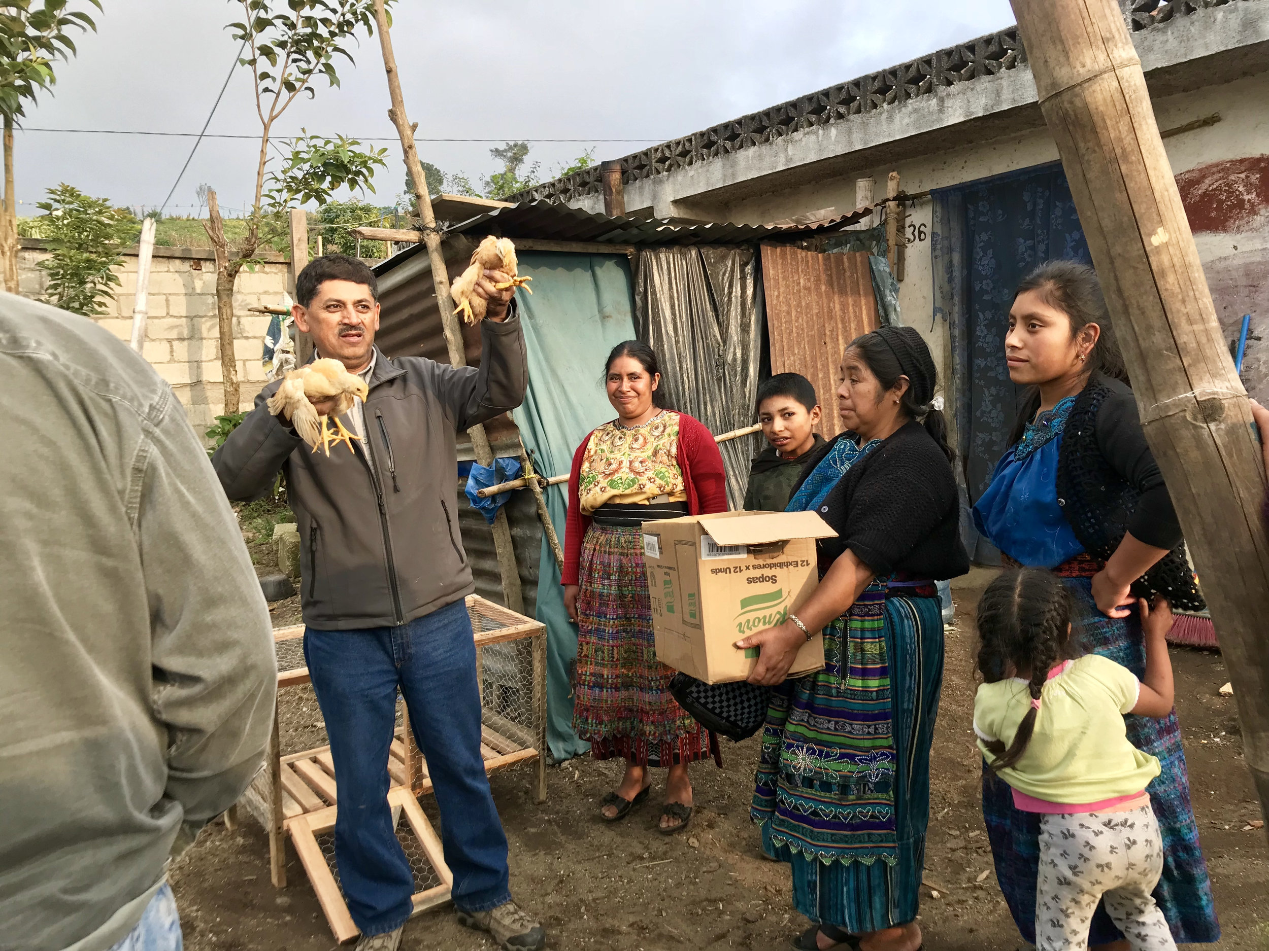 Luiz, Guatemalan Operations Manager, helping deliver the coops and chickens.