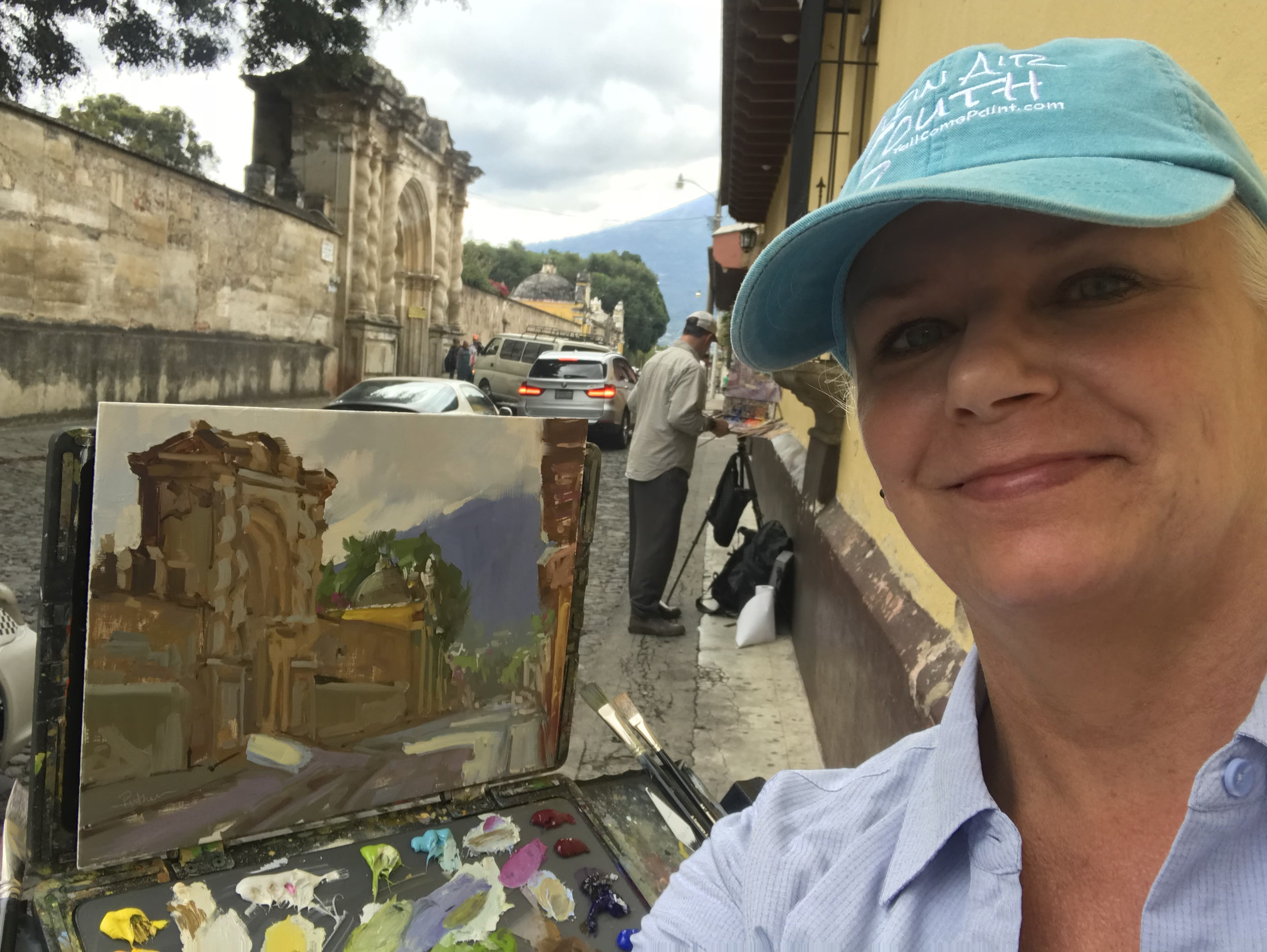 First painting in Antigua with Michael Lindstrom.