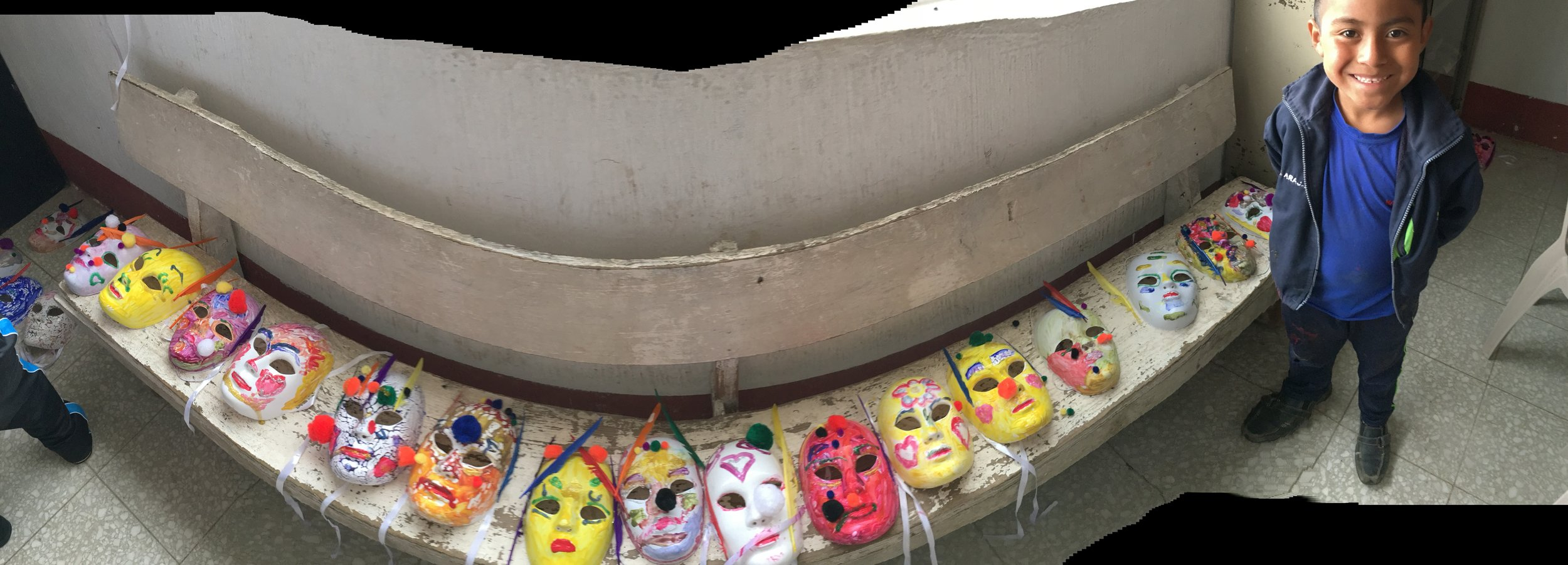 Joel took this cool image of the masks the children made.