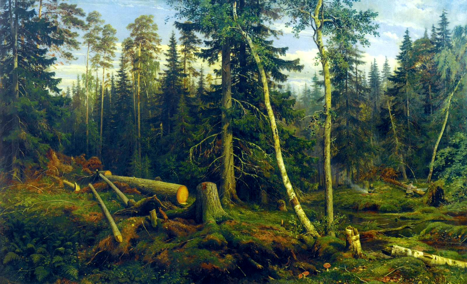 "Ivan Shiskin, Study for the painting ""Lumbering"", plein air, 1867"