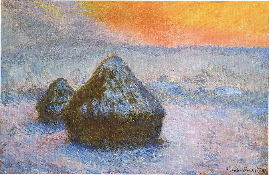 Claude Monet, Grainstacks at Sunset, Snow Effect, plein air, 1890