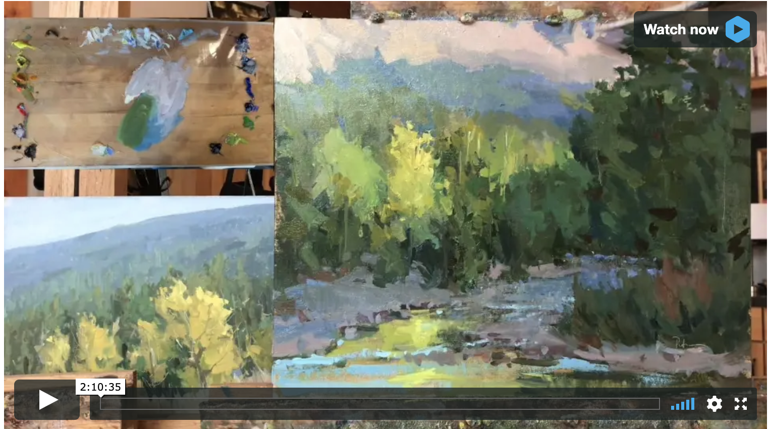 Demonstration: Technique and Color Video - Rent for $19.99 / Download for $59.99See all of my color mixtures and painting techniques as well as how I use plein air reference to create in the studio.