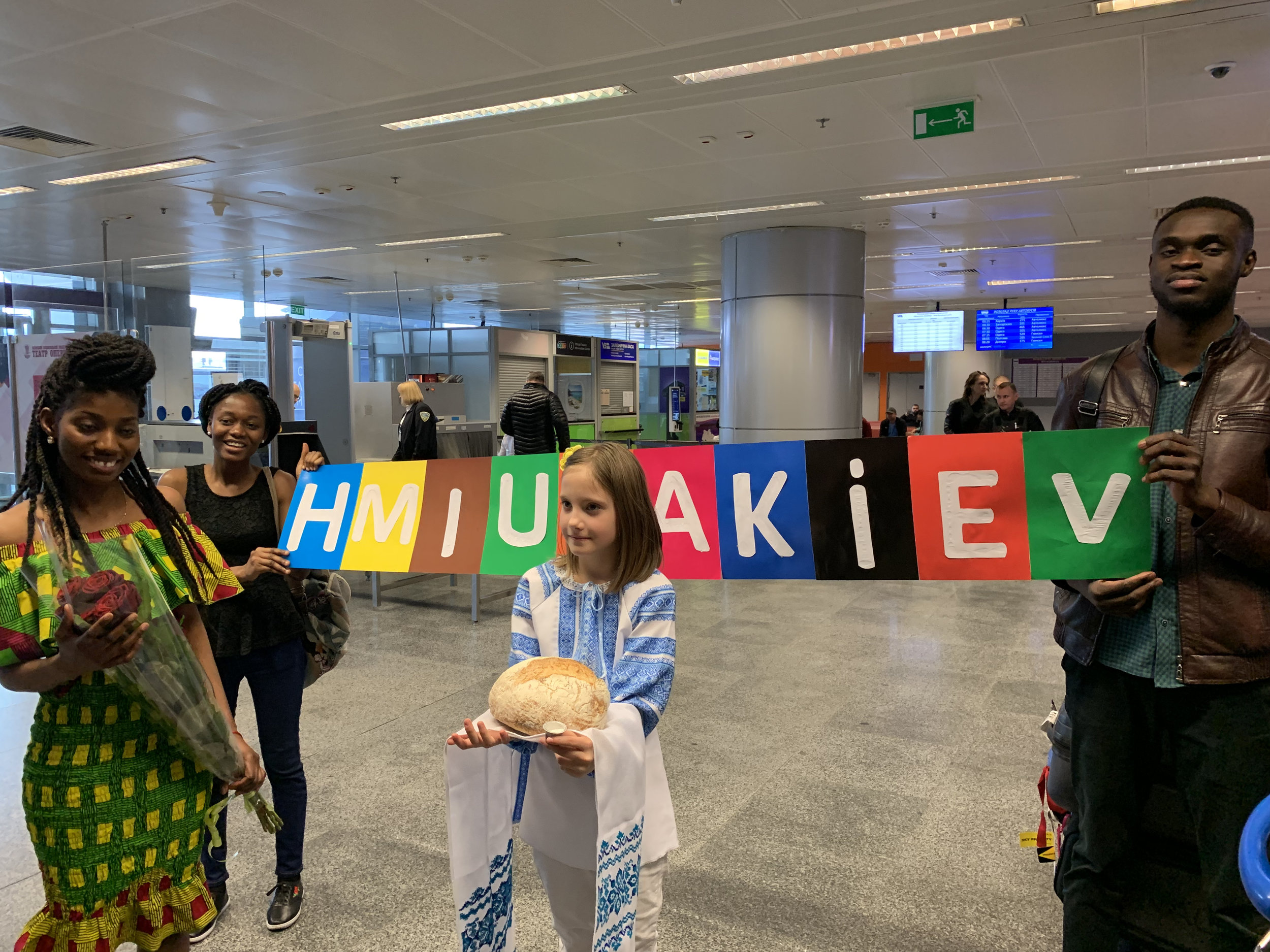 Our first welcome at the airport in Kiev from Help Motherland International, Ukraine.