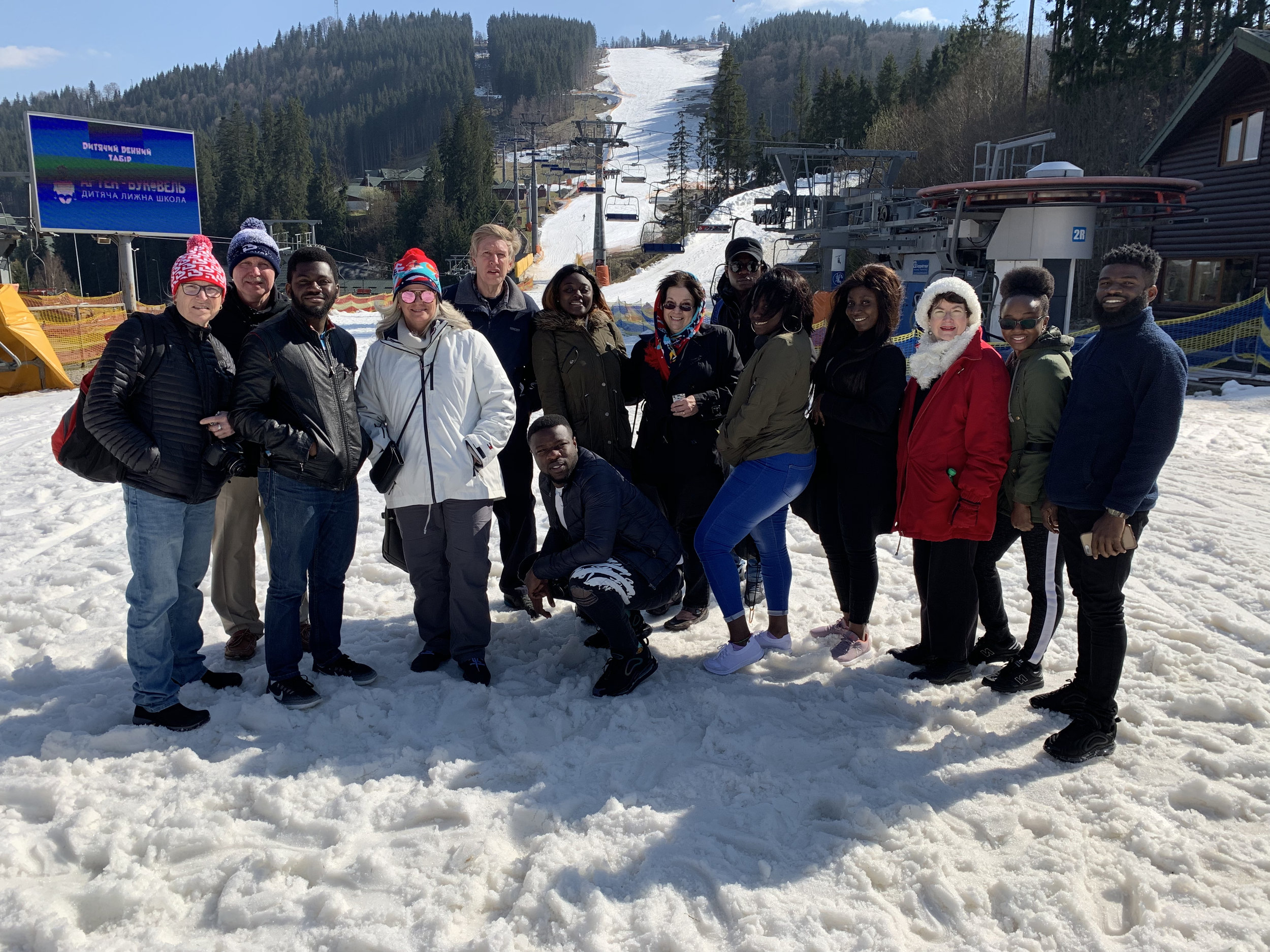 Some of us from Team USA and Team Ukraine head to the slopes. (No skiing took place.)