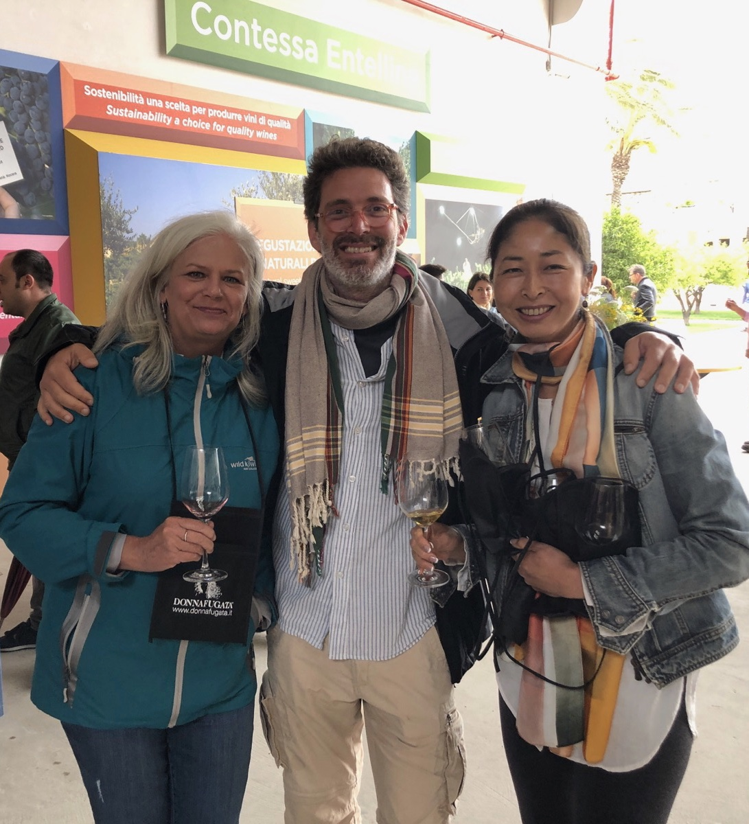 Lori, Adriano, and Yumi at Donnafugata wine tasting.