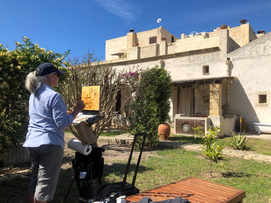 Painting in the back yard of Salinara