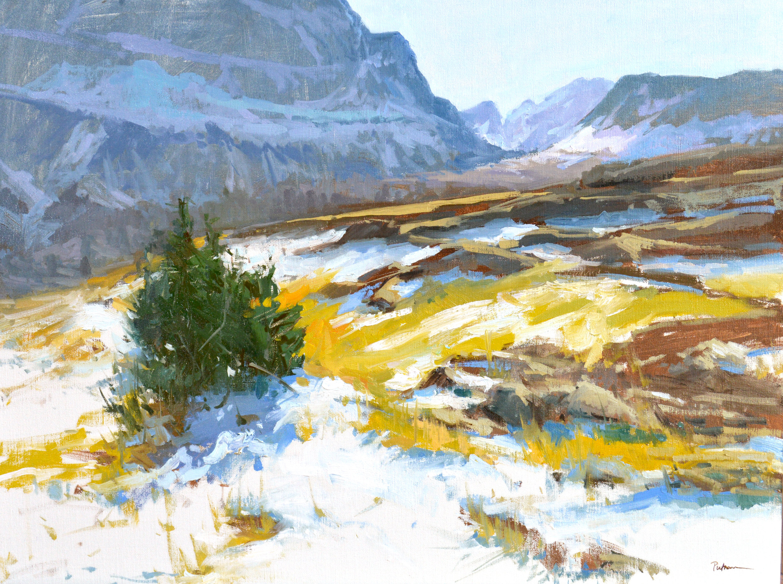 Fall at Logan Pass, oil on linen, 24.X 32. $8500; Available