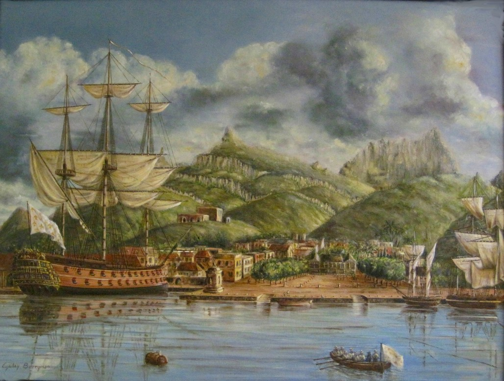Port Louis Harbor (based on an 18th Century lithograph)