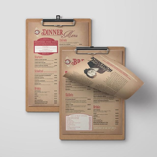 Custom Menu Design for Angie's Country Kitchen in St. Agatha. The menus are kept on clipboards which influenced the style and layout of the overall design.⠀⠀⠀⠀⠀⠀⠀⠀⠀ ⠀⠀⠀⠀⠀⠀⠀⠀⠀ We offer full customized menu design and printing services - send us a DM if you'd like more info ✅⠀⠀⠀⠀⠀⠀⠀⠀⠀ ⠀⠀⠀⠀⠀⠀⠀⠀⠀ #menudesign #graphicdesign #restaurantmenus #printing #creativebiz #graphicdesigner #menus #artdaily #designlife #smallbiz #creativebusiness #freelanceentrepreneur #design #womeninbusiness #thehappynow #creativeminds #creativeentrepreneur #calledtobecreative #boulevardnorth #northperth #519local #519localbusiness #listowelontario #thatsdarling #inspiration #designinspiration