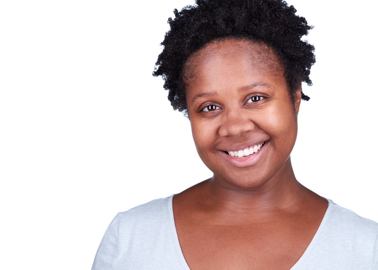 Modern African American Actress White Background