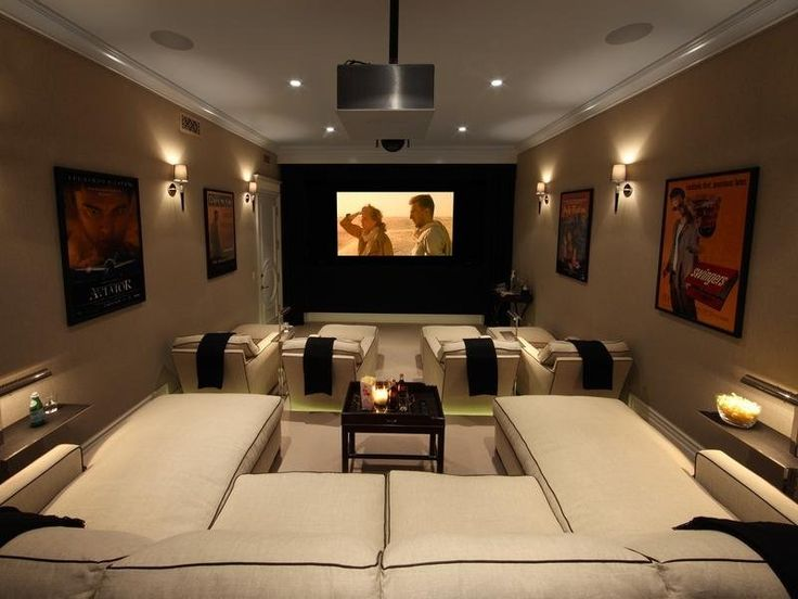 cinema style seating with sectional couch
