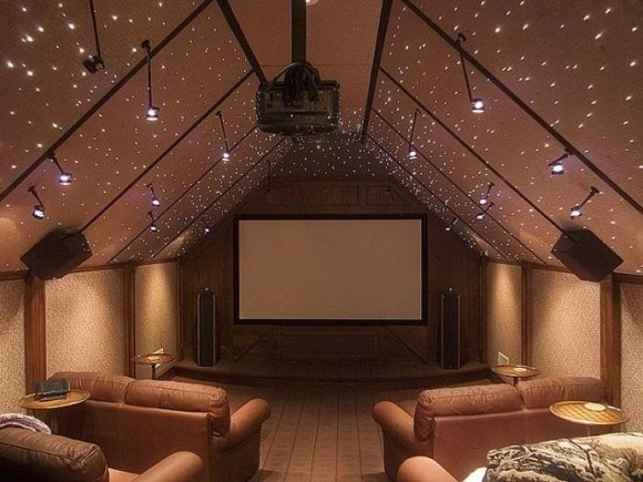 attic media room with starry ceiling