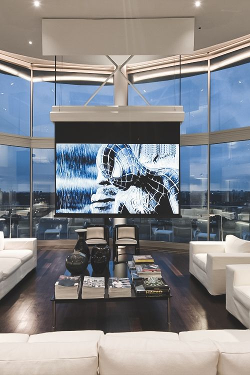 media room with pull down projector screen