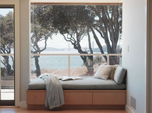 glass walls and window seat
