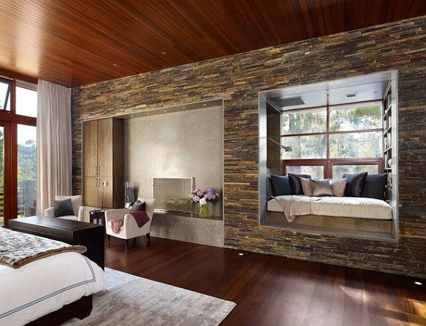 elegant wood and stone bedroom