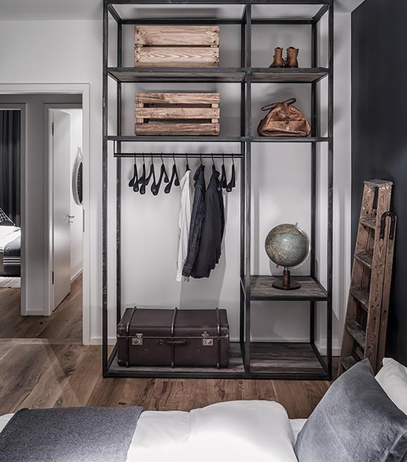 grey open clothes organiser