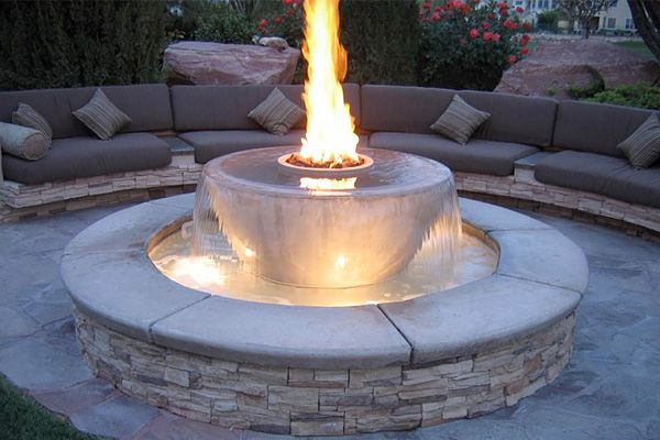 modern water and fire Pit