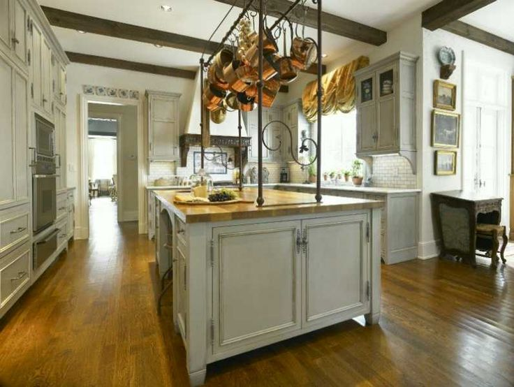 traditional kitchen with copper pots