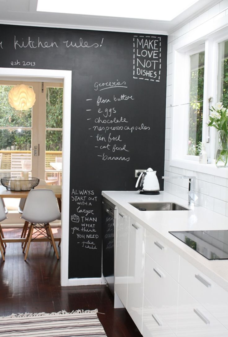 modern kitchen with chalkboard wall