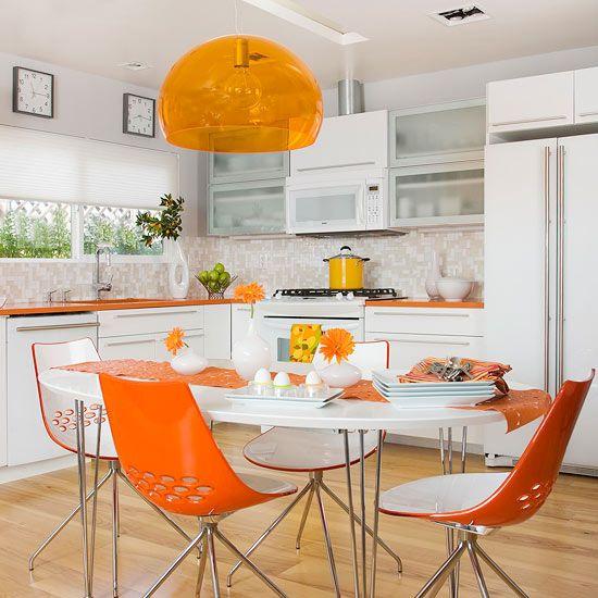 vibrant orange kitchen design