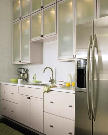 contemporary kitchen with lighted cabinets