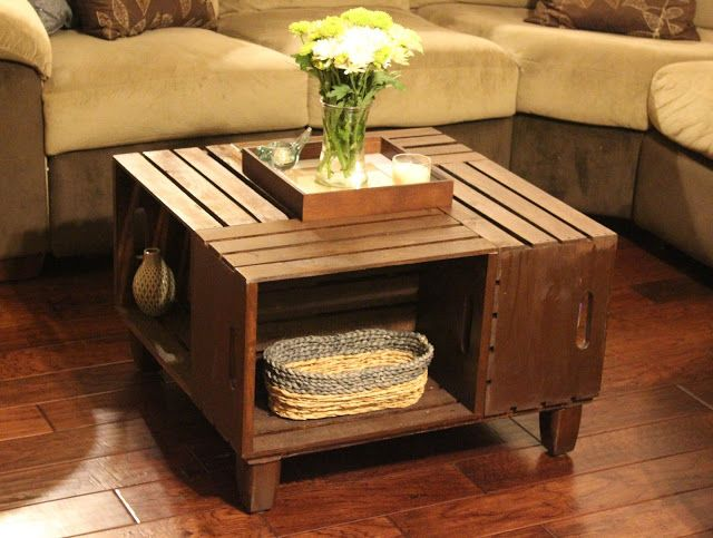 repurposed crate box centre table