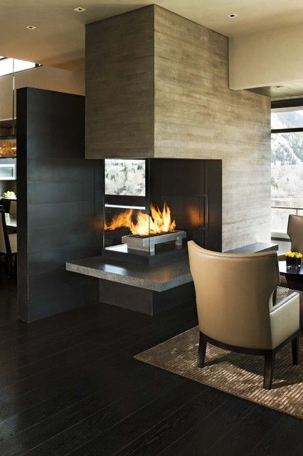 double sided glass fireplace