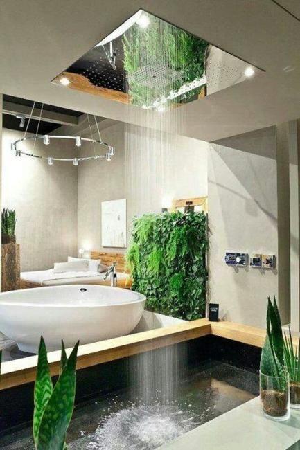 tropical lush bathroom design