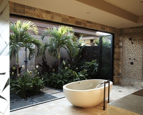 glass walled bathroom