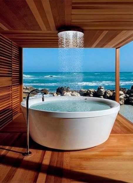 deck bath tub with rain shower
