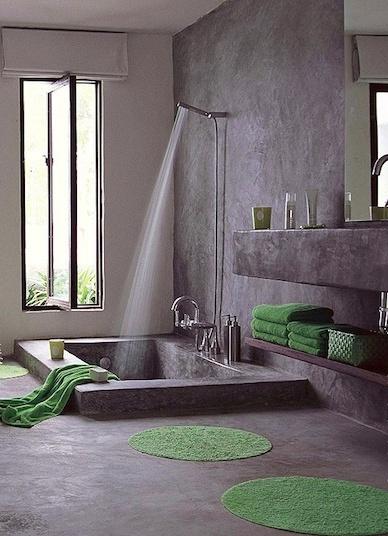 unpolished concrete bath with sunken tub