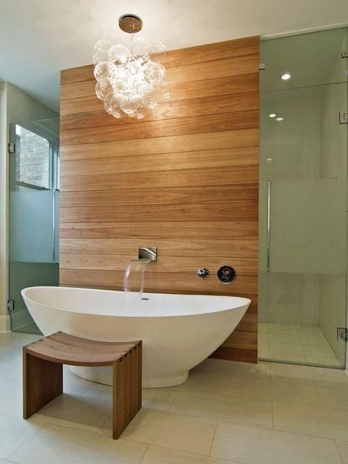 avent garde bathroom with wood panelling