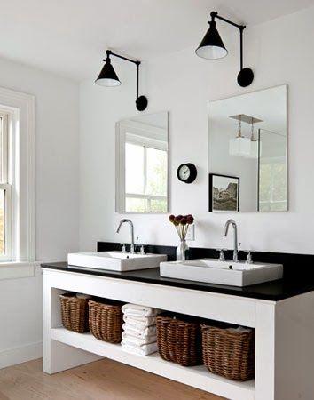 contemporary black and white bath
