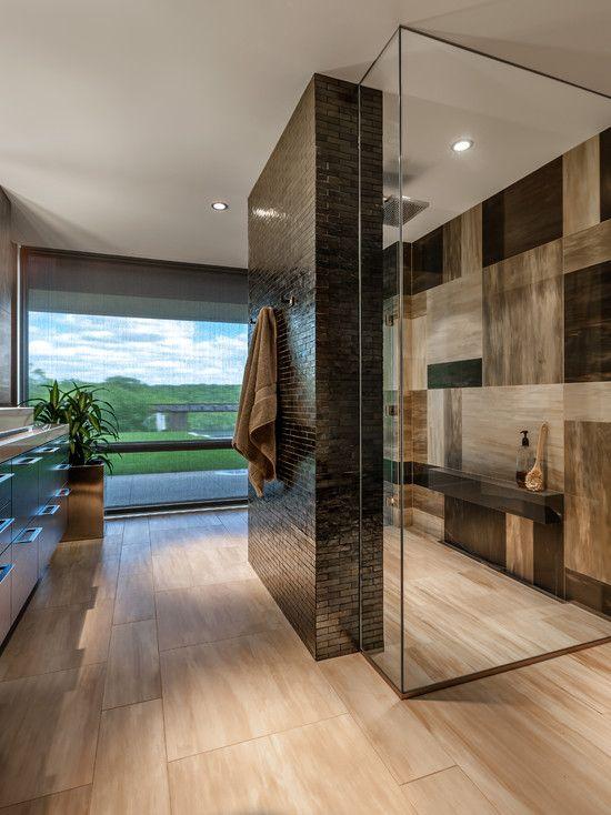 contemporary glass and stone bathroom