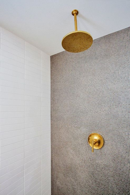 gold shower head and knob