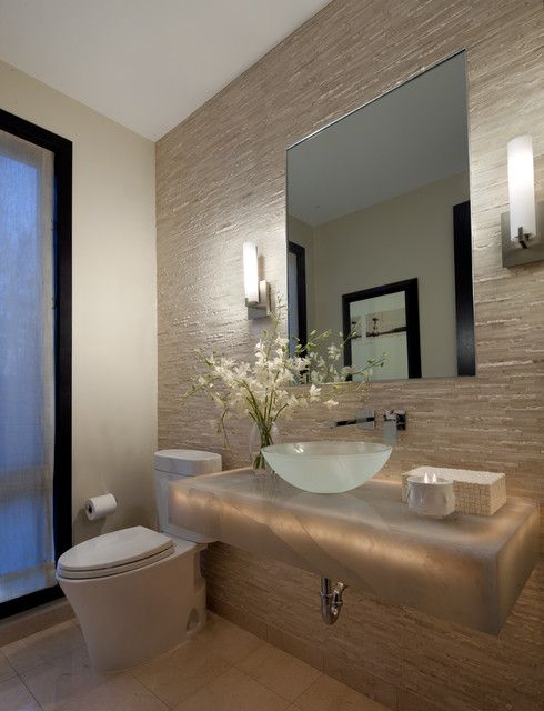 modern bath with frosted glass basin